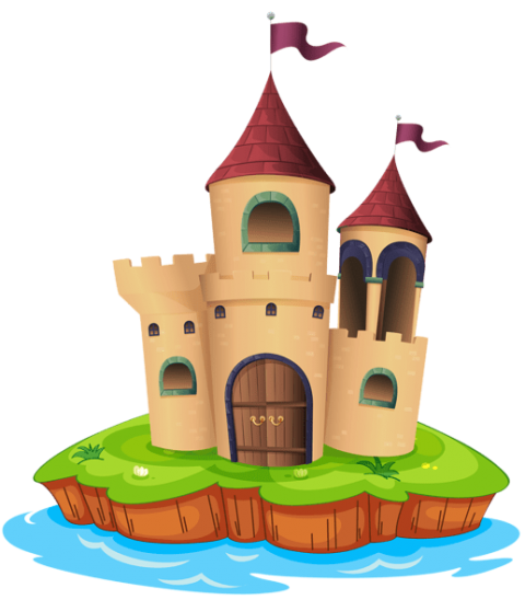 Fortress drawing citadel. Transparent castle and water