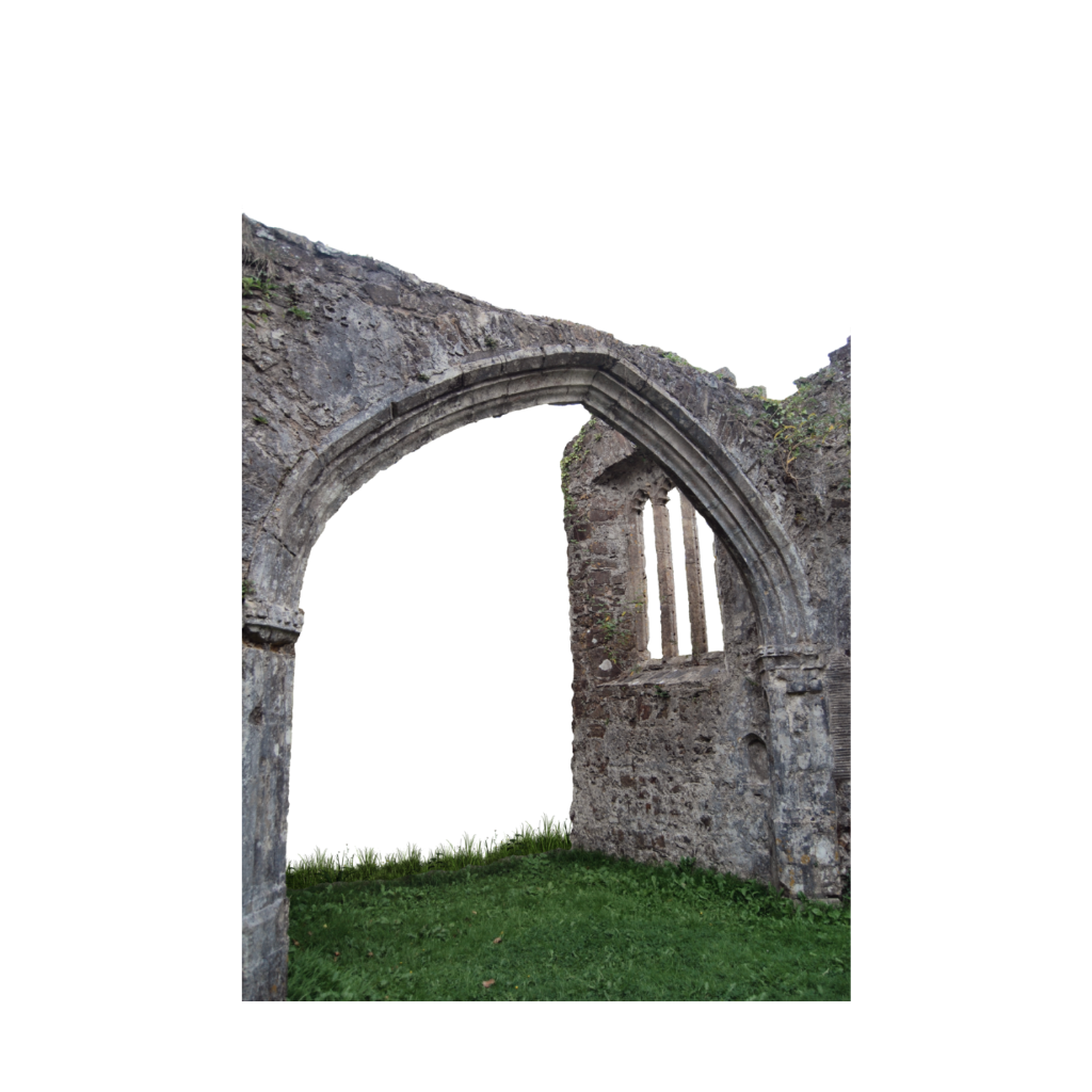 Transparent castle stone. Archway courtyard