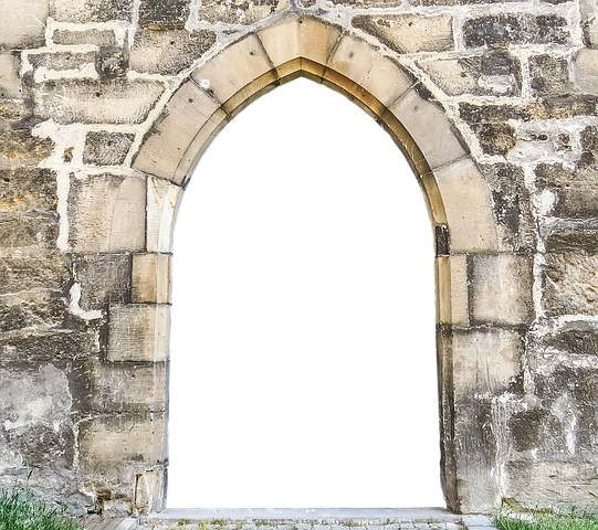 Transparent castle stone. Wall old archway fortress