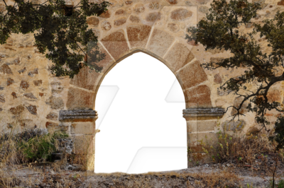 Transparent castle stone. Arch png premade background