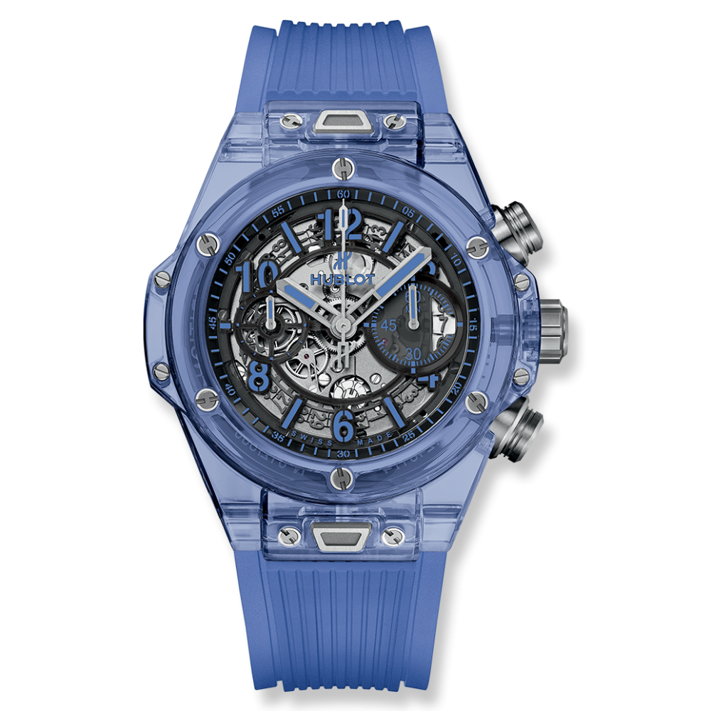 Transparent ceramic sapphire. Big bang unico blue