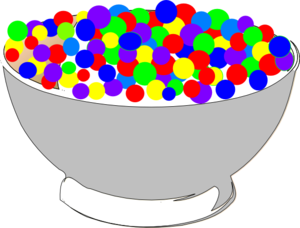Transparent cereal cartoon. Bowl of colorful clip