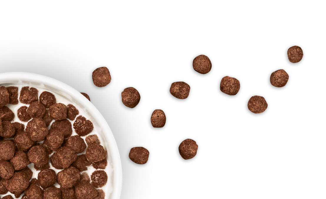 Transparent cereal chocolate. Balls breakfast s more