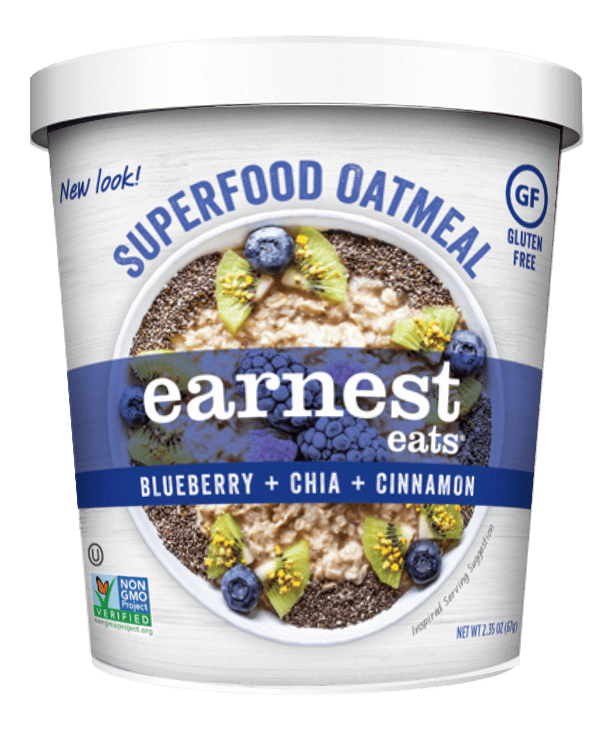 Transparent cereal cup. Superfood blueberry chia blend