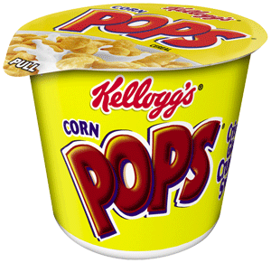 Transparent cereal cup. Kelloggs corn pops in
