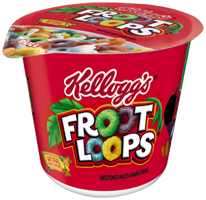 Transparent cereal cup. Kelloggs froot loops in