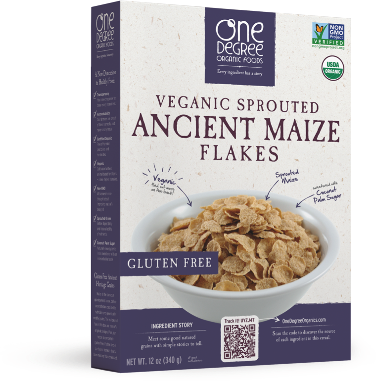 Transparent cereal maize. Ancient flakes one degree
