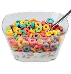 Transparent cereal rainbow. Popular and trending guy