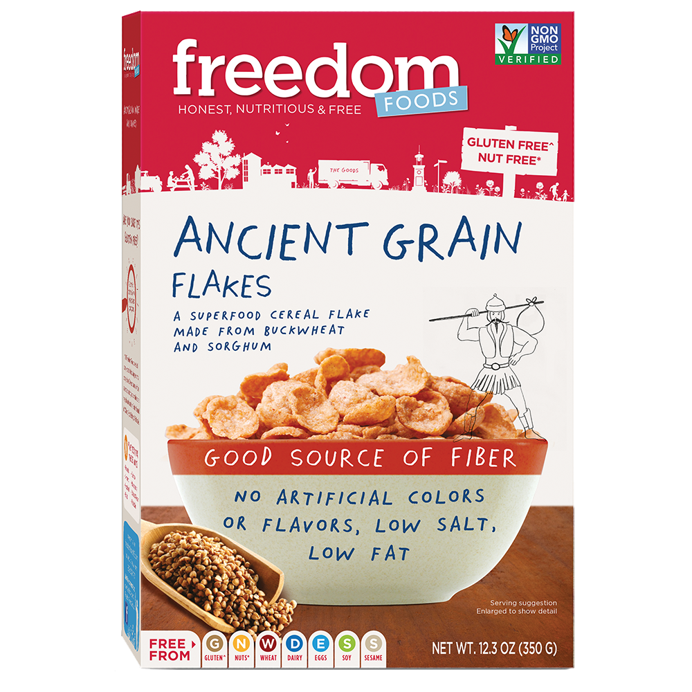Transparent cereal rainbow. Ancient grain flakes freedom