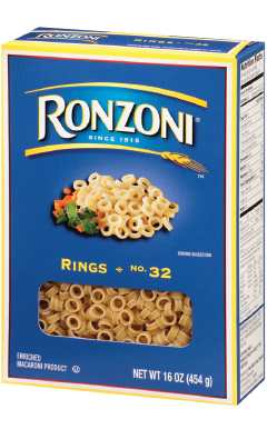 Transparent cereal ring. Ronzoni rings the pasta