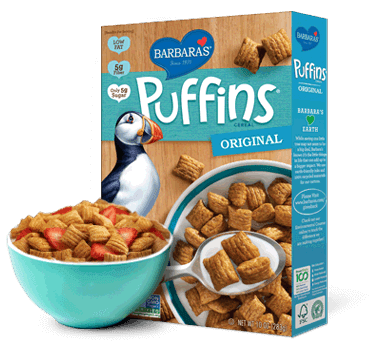 Transparent cereal snackimals. Original puffins barbara s