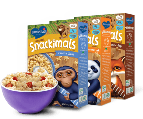 Transparent cereal snackimals. Wholesome foods breakfast snacks