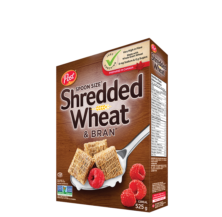 Transparent cereal spoon. Post shredded wheat bran