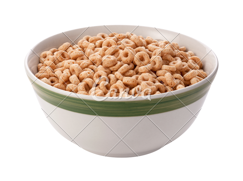 Transparent cereal white background. Oat in a bowl