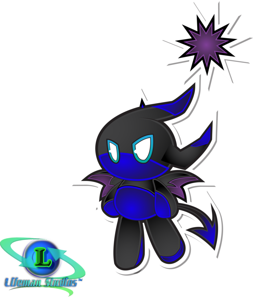 Transparent chao swimming. Dark swim fly by