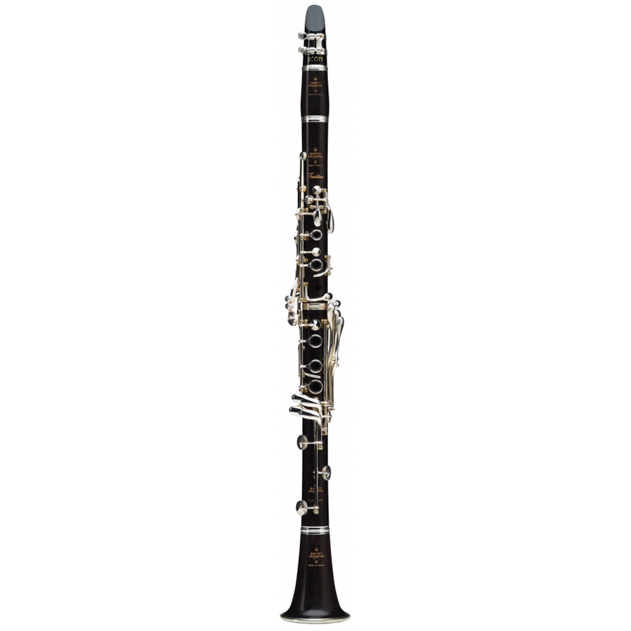 Transparent clarinet black and white. Buffet tradition a wind