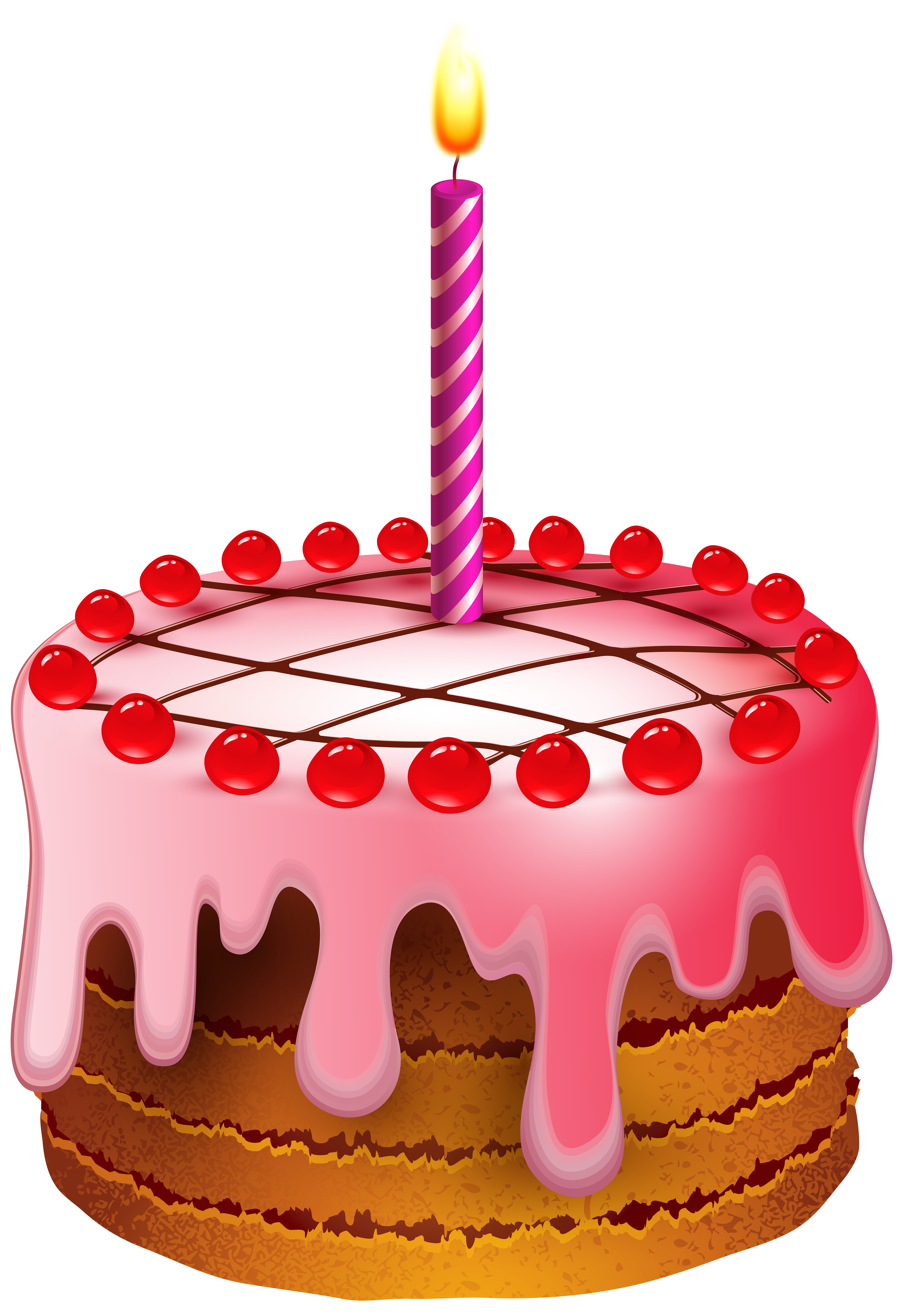 Transparent candles birthday cake. With candle clip art