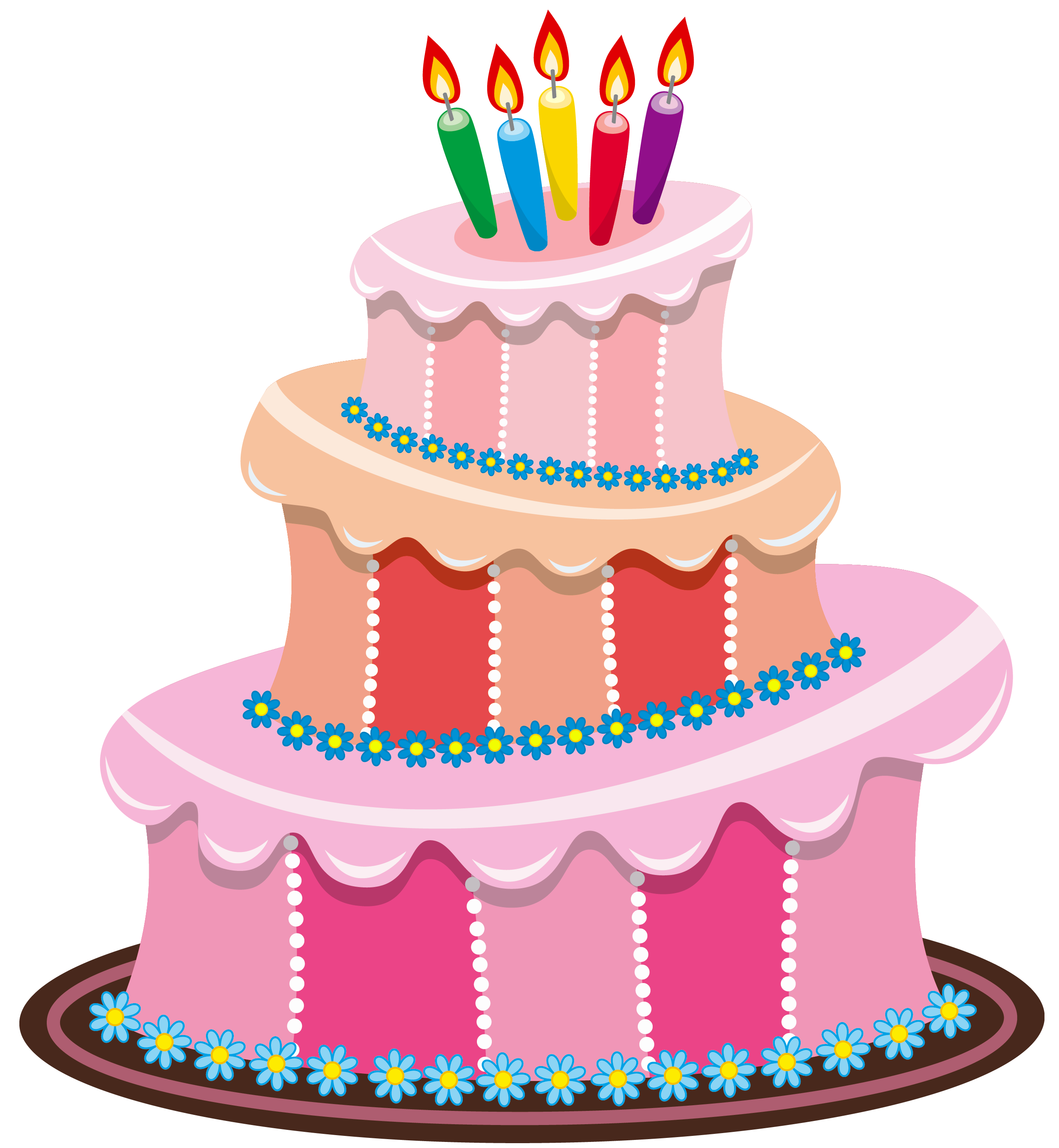 Vector layers cake. Pink birthday png clipart