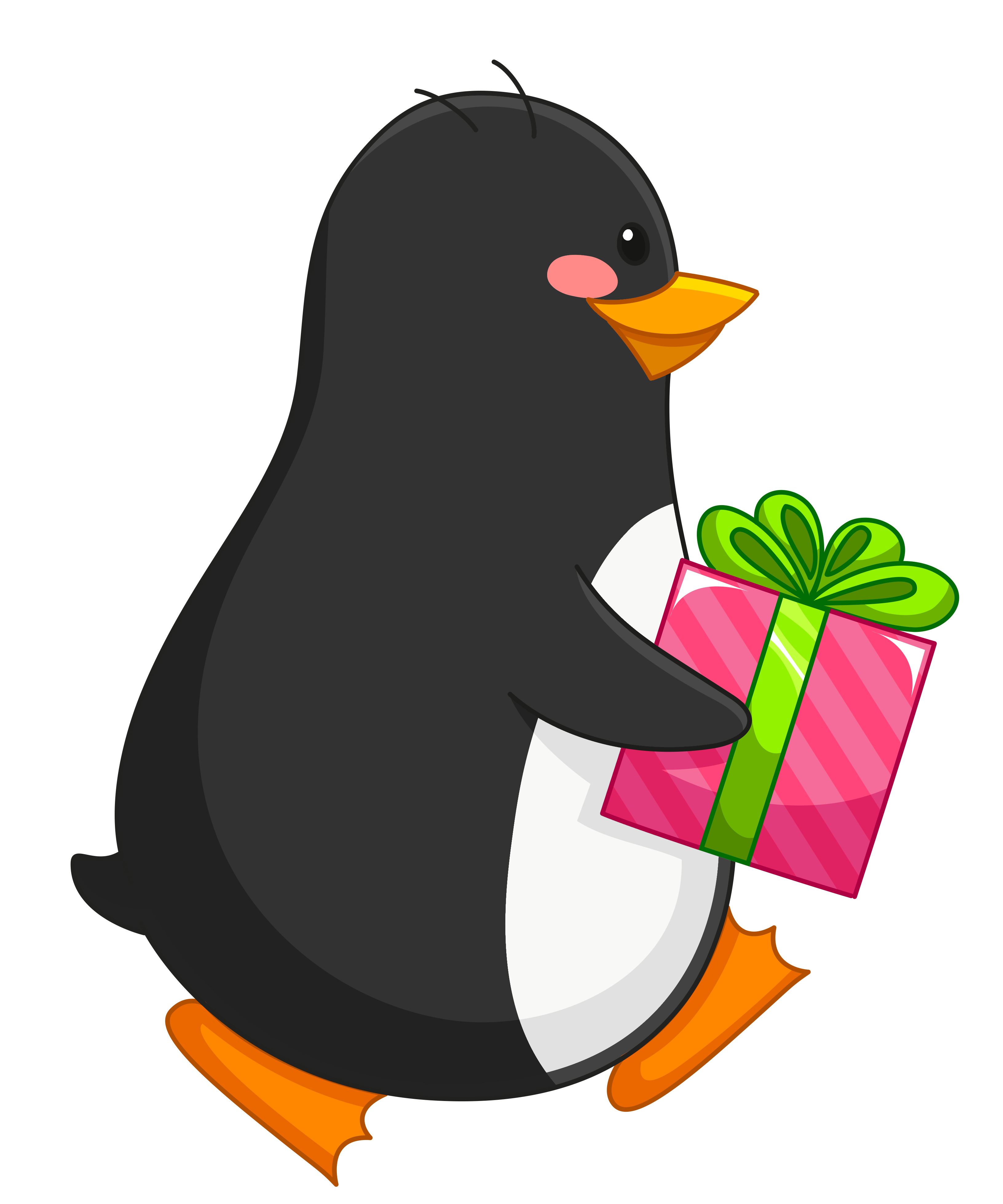Transparent clipart penguin. With gift png gallery