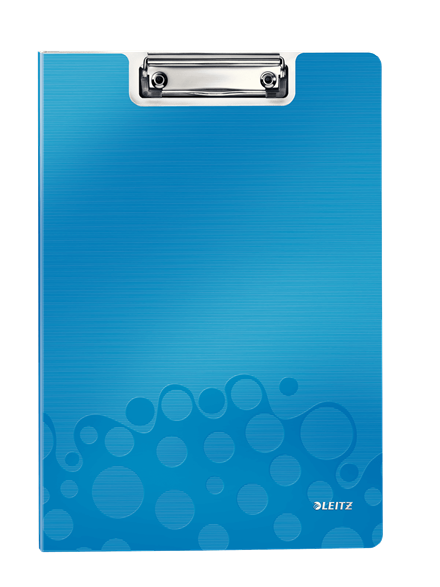 Transparent clipboard blue. With front cover leitz