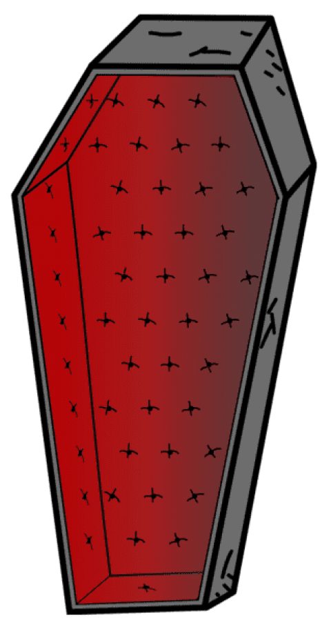 Transparent coffin closed. Halloween vampire png free