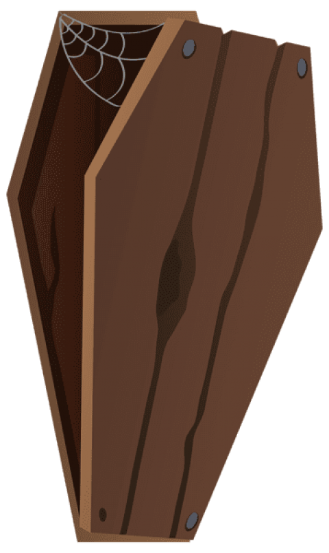 Transparent coffin closed. Download vertical png images