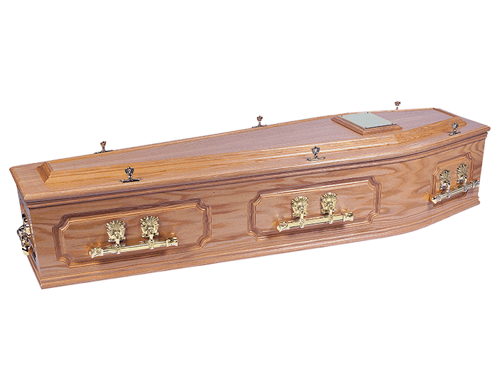 Transparent coffin side. Traditional selection funeral directors
