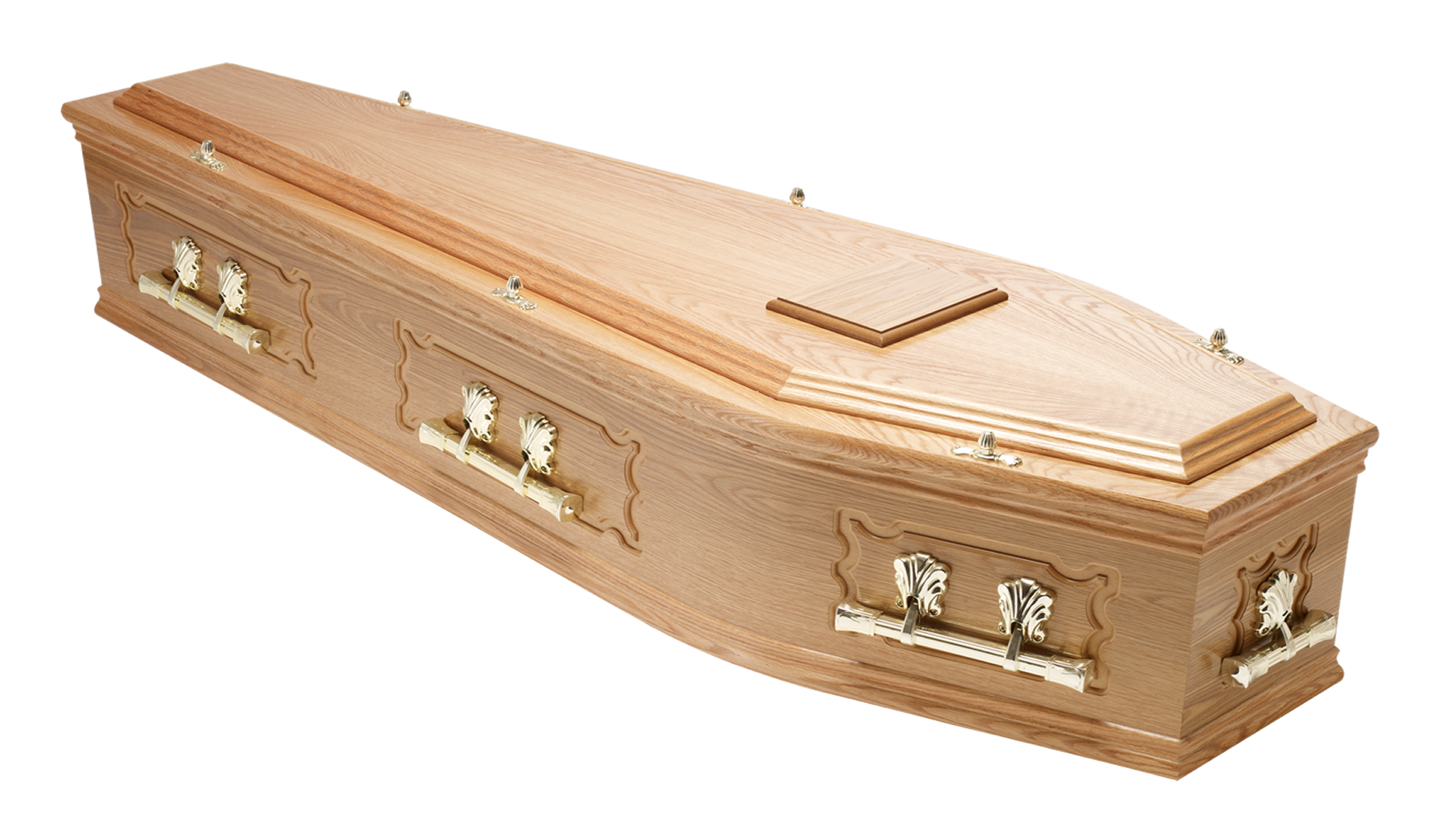 Transparent coffin wood. Traditional raised lid and