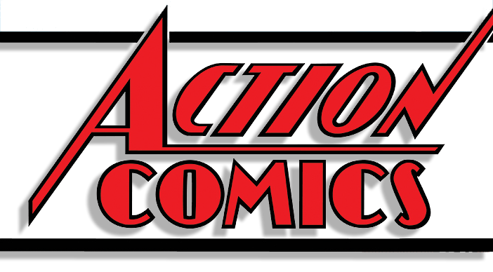 Transparent comic logo. Image action comics vol