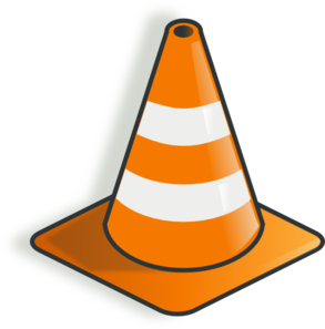 Transparent cone under construction. Collection of free constructer