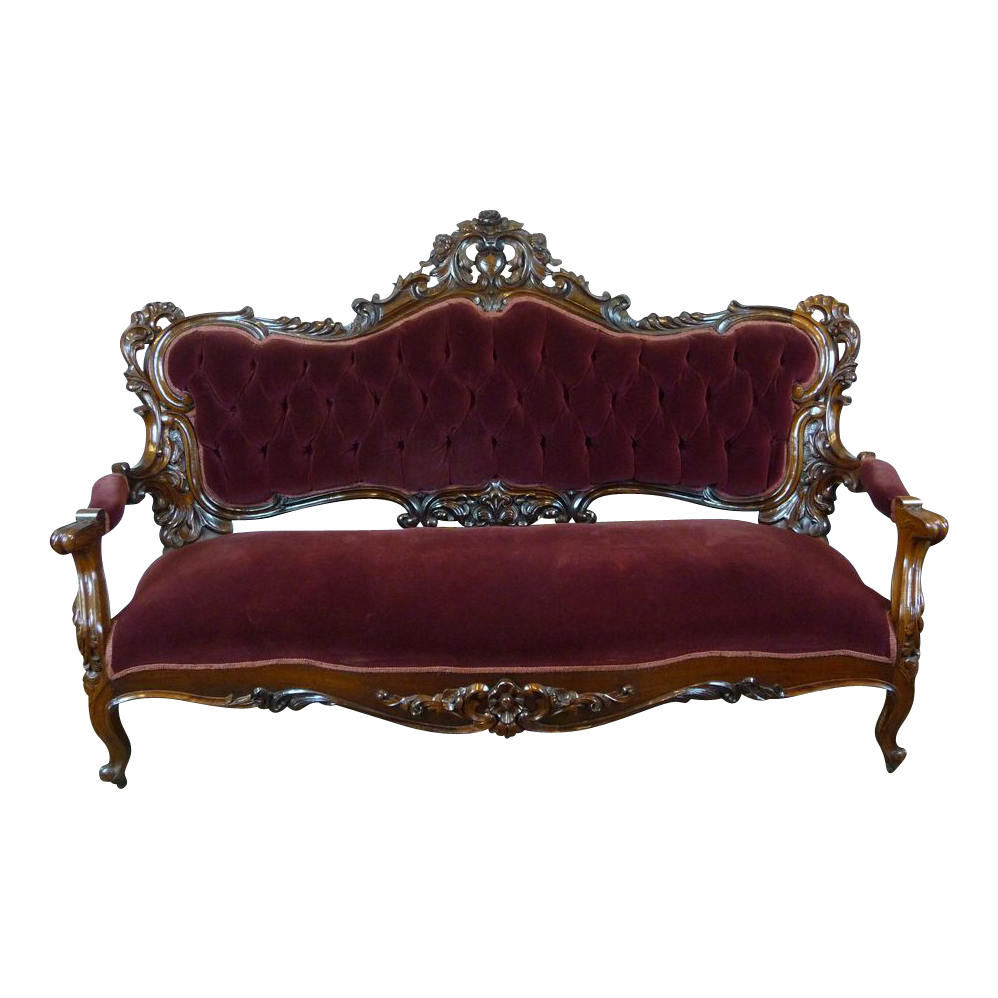 Transparent couch victorian. Sofa american c rosewood