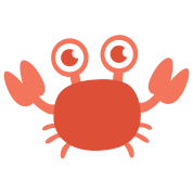 Transparent crab big red. Cute with eyes by