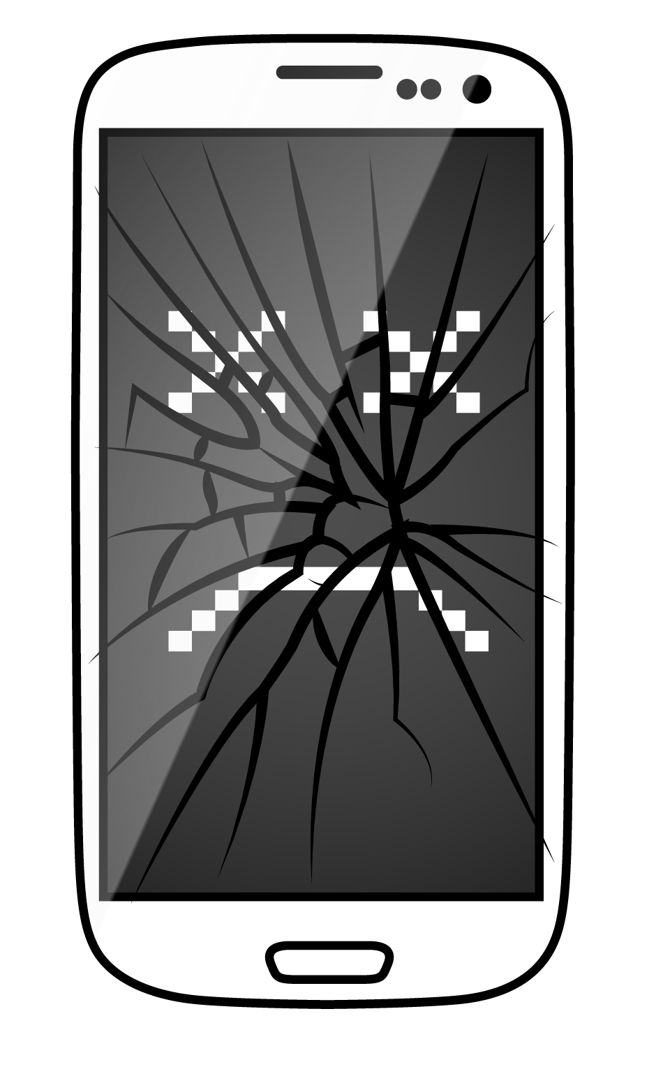Transparent cracks mobile glass. Iphone and cell phone