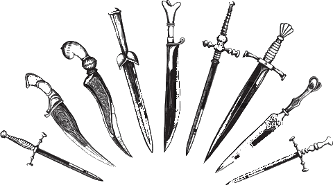 European oriental daggers hexx. Transparent dagger black and white jpg black and white stock