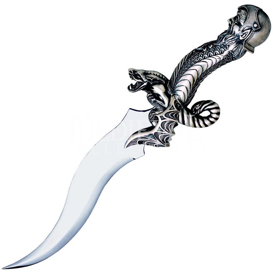 Transparent dagger curved. Objects rose of ice