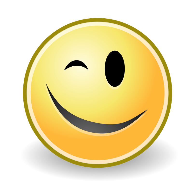 Transparent death wink. Family uses emoticon to