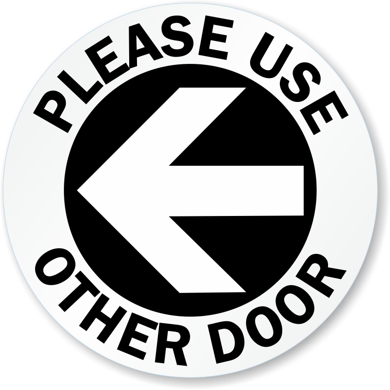 Transparent decals door. Use other signs from