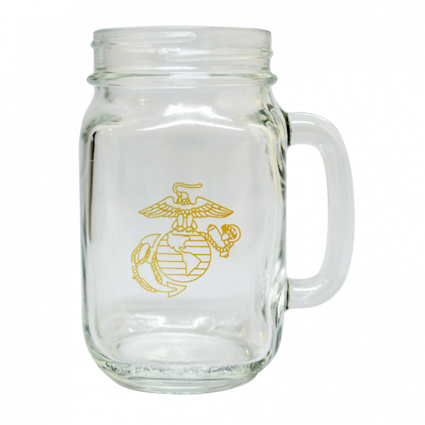 Transparent decals glass jar. Usmc mason with gold