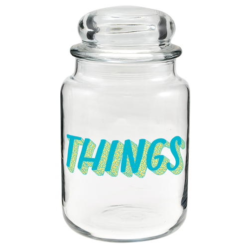 Transparent decals glass jar. Numo country canister ounces