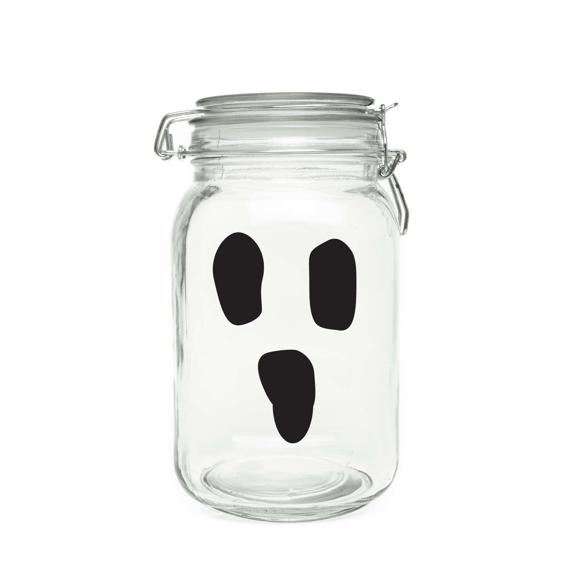 Boo face wall quotes. Transparent decals glass jar image black and white library