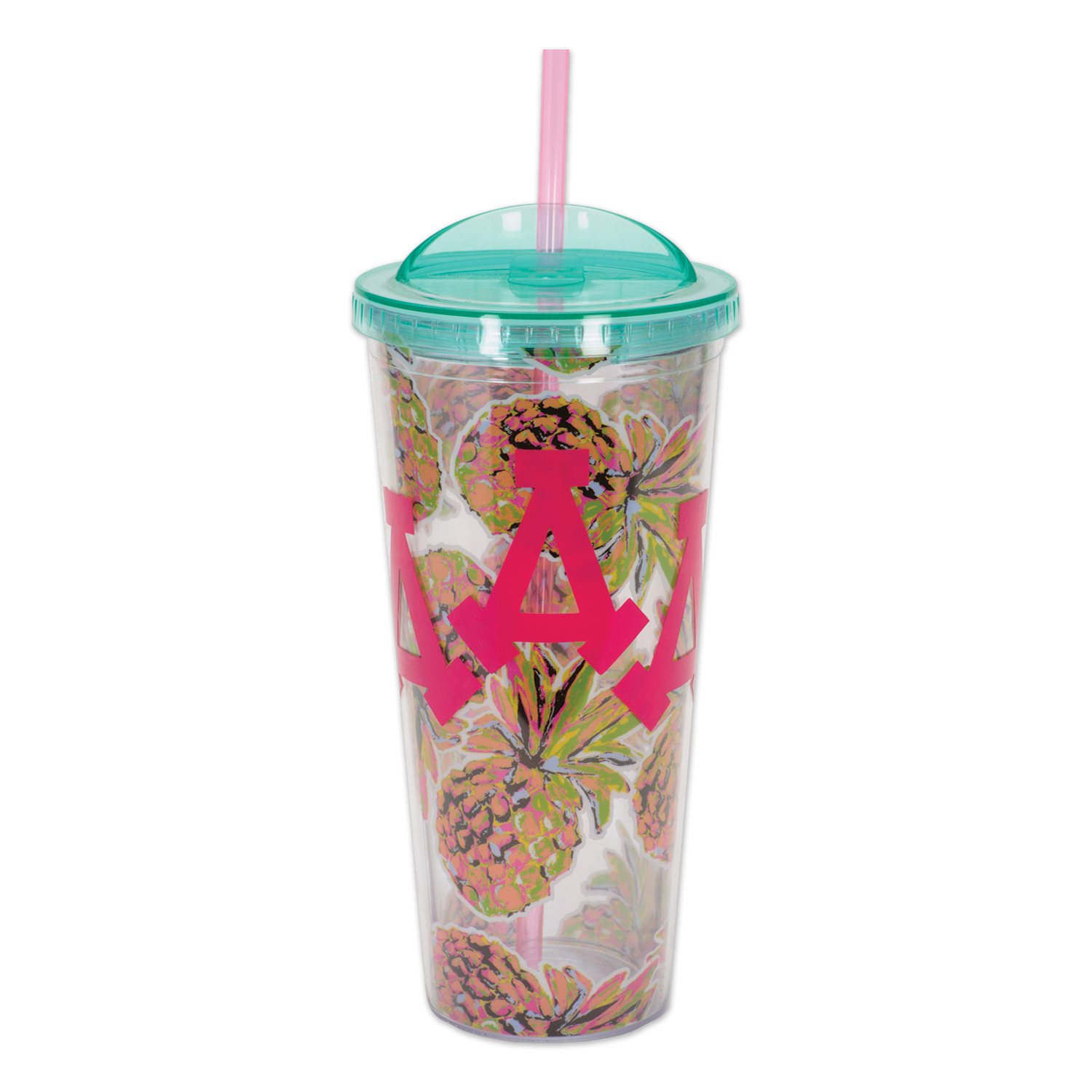 Transparent decals plastic cup. Pineapple printed tumbler with