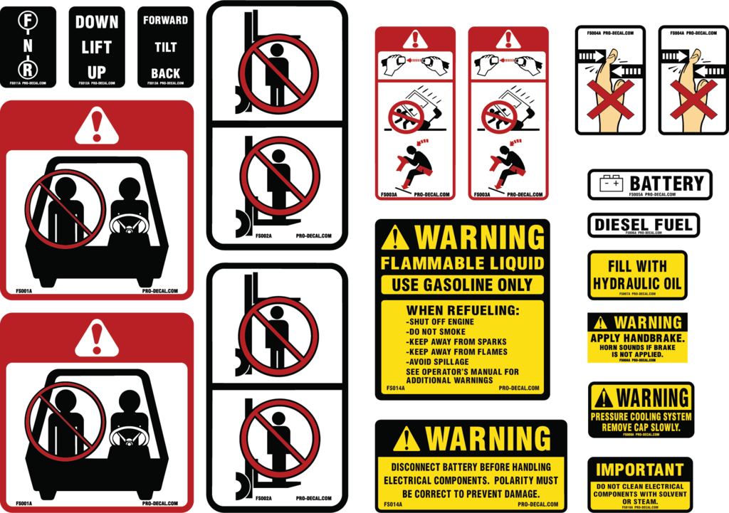 Transparent decals safety. Pro decal warning universal