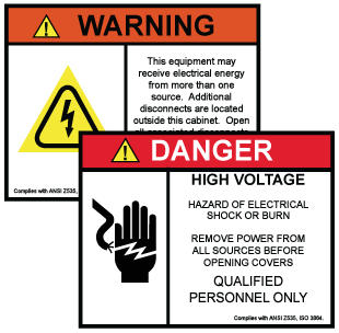 Transparent decals safety. Custom warning labels stickers