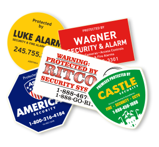 Transparent decals safety. Security stickers alarm signs