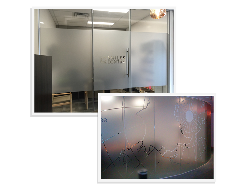 Transparent floor frosted glass. Window graphics one of