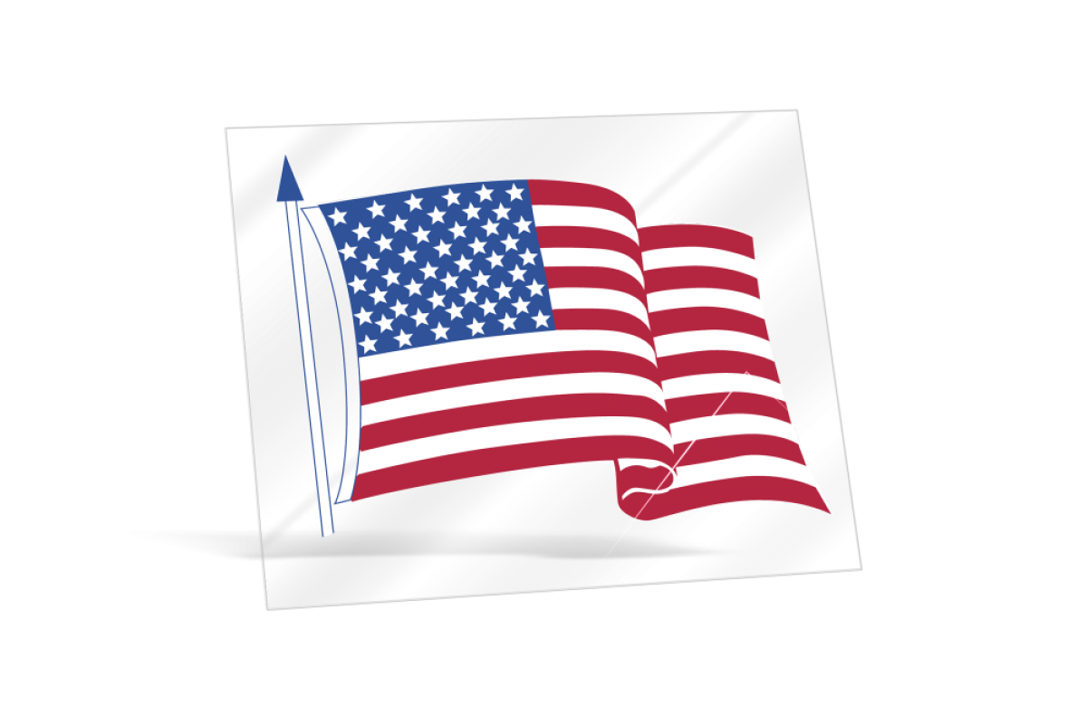 Transparent decals static cling. Clear american flag in
