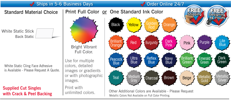 Transparent decals static cling. Custom printed stickers and