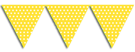Transparent decoration bunting. Yellow party flags just