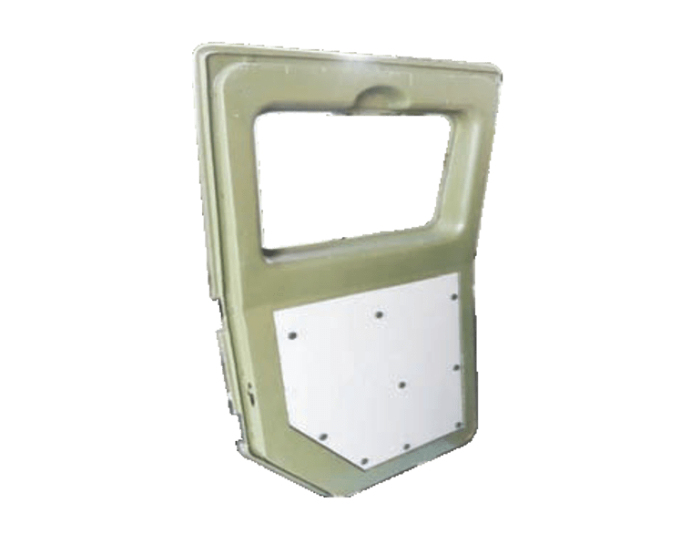 Transparent doors armored. Molded lightweight armor for