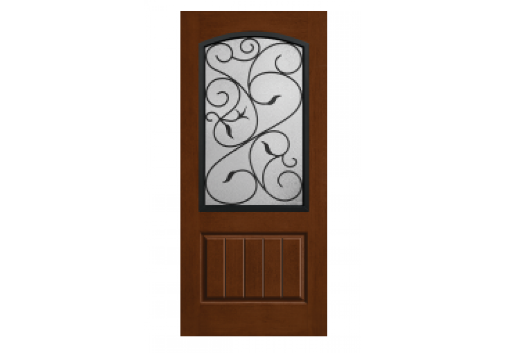 Transparent doors entryway. Rustic wrought iron augustine
